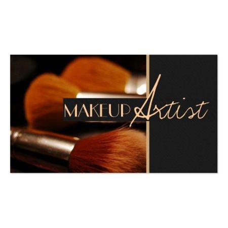Gray and Orange Large Powder Brushes Beauty Salon Business Cards