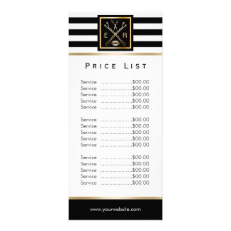 Makeup Artist Salon Logo Modern Stripes Price List Rack Card