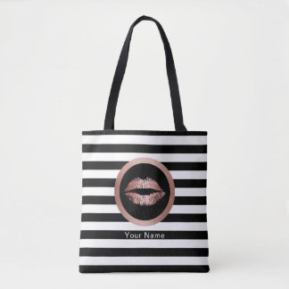 Makeup Artist Salon Rose Gold Lips Modern Stripes Tote Bag