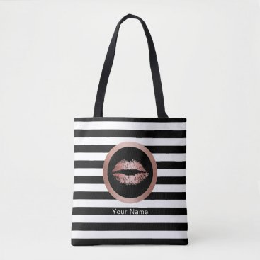 cardfactory Makeup Artist Salon Rose Gold Lips Modern Stripes Tote Bag