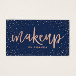 Makeup Artist Salon Typography Rose Gold & Navy Business Card