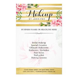 Makeup Artist Salon Watercolor Floral Gold Striped Flyer