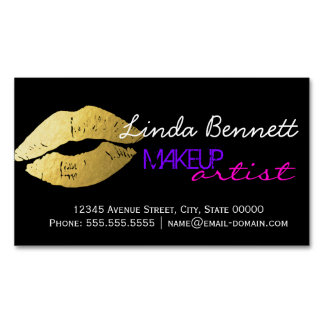 Makeup Artist - Sassy Gold Lips Dark Theme Style Business Card Magnet