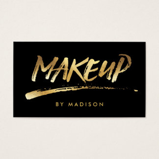 Makeup Artist Script Brush Calligraphy Gold Look Business Card