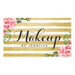 Makeup Artist Script Classy Floral Gold Striped Double-Sided Standard Business Cards (Pack Of 100)