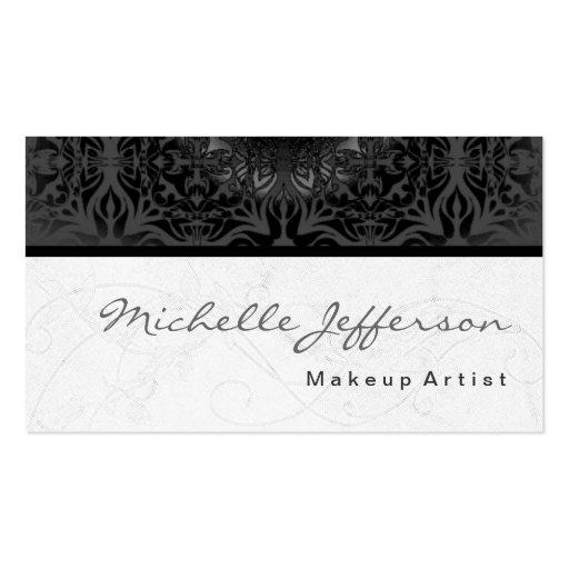 Makeup Artist Script Grey Pattern Business Card