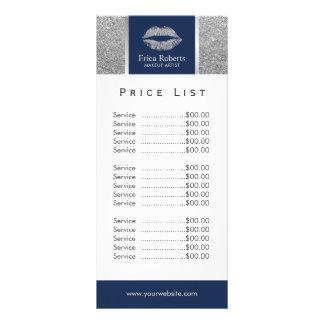 Makeup Artist Silver Glitter Lips Salon Price List Rack Card