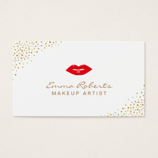 Makeup Artist Simple Red Lips Gold Confetti Dots Business Card