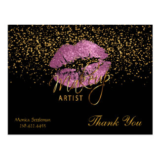 Makeup Artist  So Pink Lips on Black Postcard