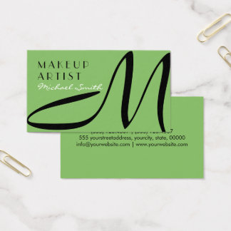 Makeup Artist Stylish Monogram Modern Dollar Bill Business Card