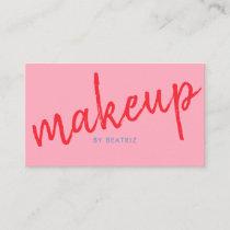 Makeup Artist Stylish Pink Blue Business Card