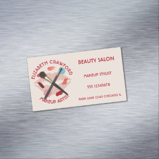 Makeup Artist Stylist Beauty Salon With Your Name Magnetic Business Card