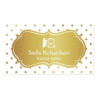 Makeup Artist Stylist Chic White Gold Polka Dots Double-Sided Standard Business Cards (Pack Of 100)