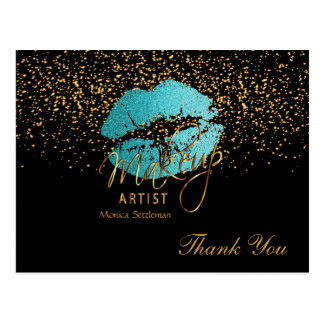 Makeup Artist  Teal Lips on Black Postcard