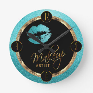 Makeup Artist Teal Lips with Gold and Black Round Clock