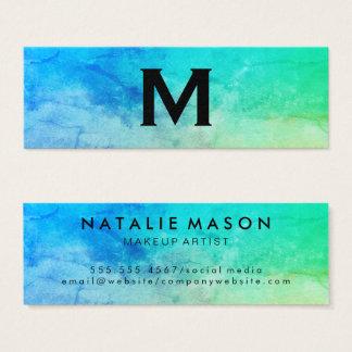 Makeup Artist Texture Watercolor Monogram Mini Business Card