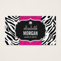 Makeup Artist - Trendy Zebra Print Hot Pink Business Card