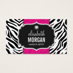 Makeup Artist - Trendy Zebra Print Hot Pink Business Card at Zazzle