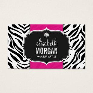 Zebra print business cards templates zazzle makeup artist trendy zebra print hot pink business card colourmoves