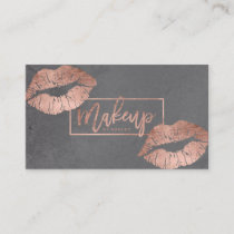 Makeup artist typography lips rose gold grey business card