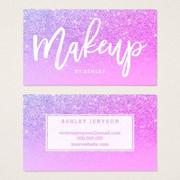 Beach Themed Makeup artist typography pink purple glitter business card