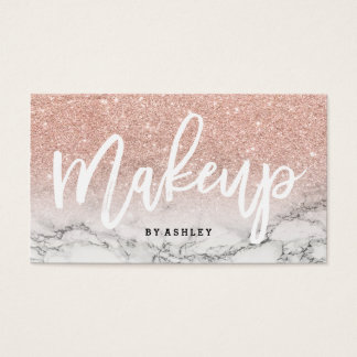 Makeup artist typography rose gold glitter marble business card