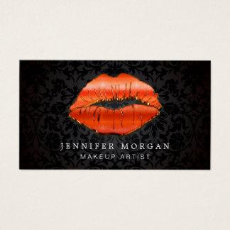 Makeup Artist Unique 3D Gold Red Lips Damask Business Card