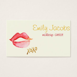 Makeup Artist - Watercolor Lips & Gold Foil XOXO Business Card