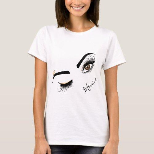 Makeup artist Wink Eye Beauty Salon Lash Extension T_Shirt