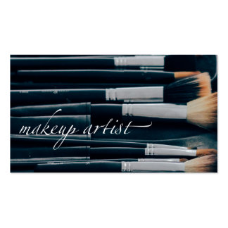 Makeup Artist with Brushes in Background Business Card