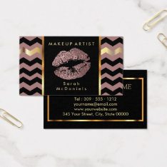 Makeup Artist With Chevron Gold Accents Business Card at Zazzle