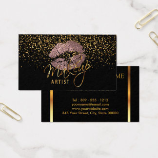 Makeup Artist with Gold Confetti & Dusty Rose Business Card