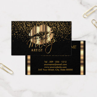 Makeup Artist with Gold Confetti & Gold Metal Lips Business Card