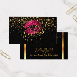 Makeup Artist with Gold Confetti & Hot Pink Lips Business Card