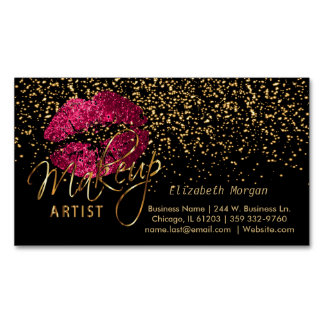 Makeup Artist with Gold Confetti & Hot Pink Lips Business Card Magnet