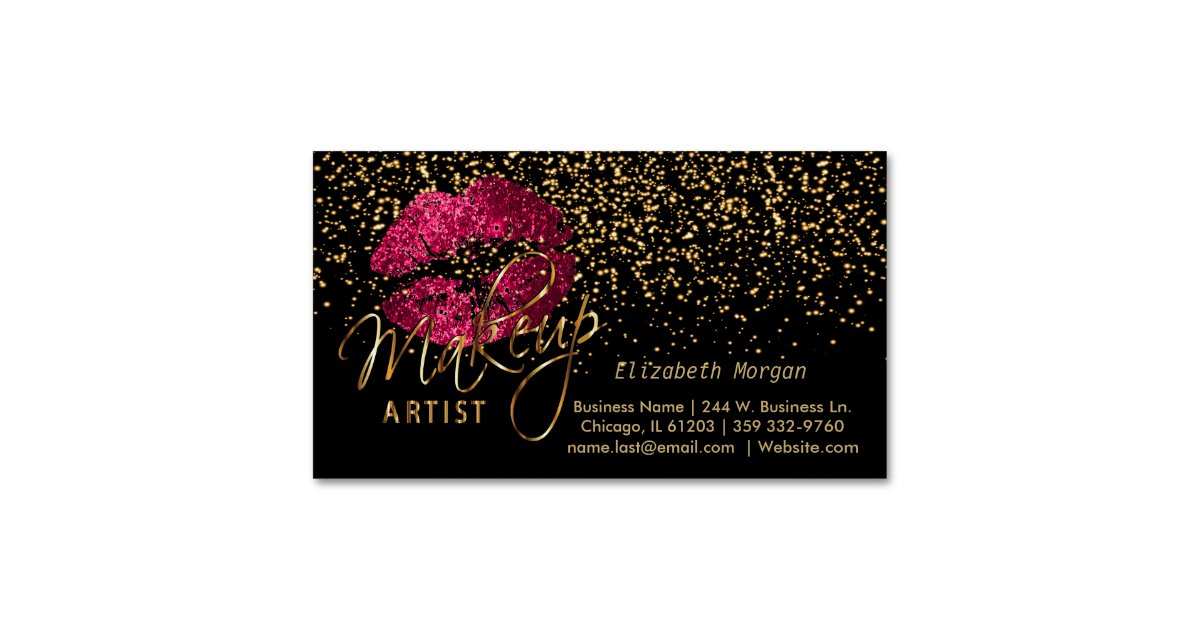 Hot Pink Black Gold Business Cards & Templates | Zazzle