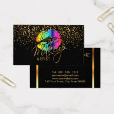 Makeup Artist With Gold Confetti & Rainbow Lips Business Card at Zazzle