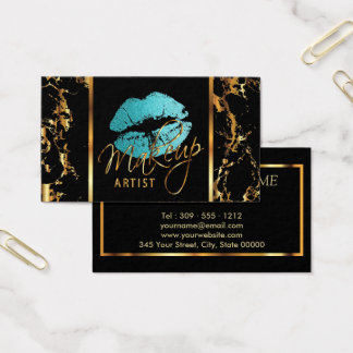 Makeup Artist with Marble Gold Accents and Teal Business Card