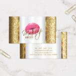 Makeup Artist with Pink Lips on Gold Damask Business Card