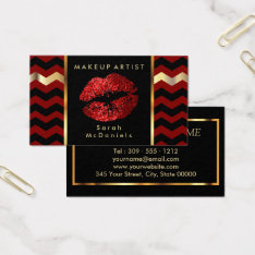 Makeup Artist With Red & Chevron Gold Accents Business Card at Zazzle