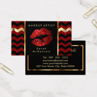 Makeup Artist with Red & Chevron Gold Accents Business Card