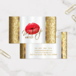 Makeup Artist with Red Lips on Gold Damask Business Card