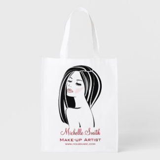 Makeup artist Woman Face long eyelashes branding Reusable Grocery Bag