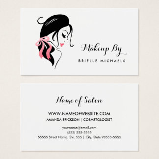 Makeup Artist Woman With Eyelashes and Pink Bow Business Card