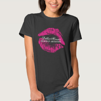 Makeup Artistry with Pink Lipstick Smudge Shirt