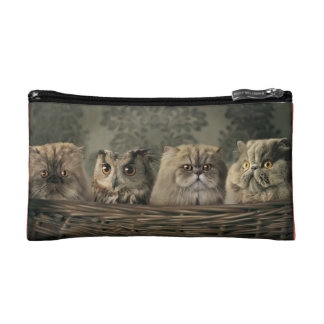 makeup bag with cats and owl