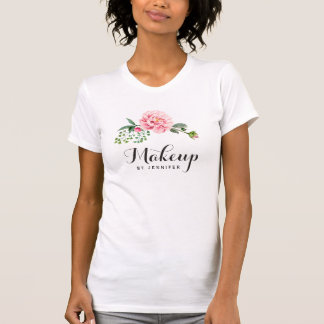 Makeup Beauty Salon Girly Pink Floral T-Shirt