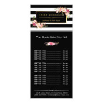 Makeup Beauty Salon Gold Floral Stripes Price List Rack Card