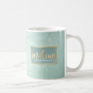 Makeup Beauty Salon Gold Mint Green Damask Floral Coffee Mug