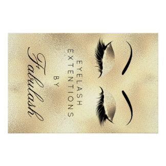 Makeup Beauty Salon Name Gold Unique Lux Eyebrows Poster